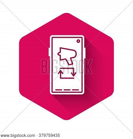 White Spread The Word, Megaphone On Mobile Phone Icon Isolated With Long Shadow. Pink Hexagon Button