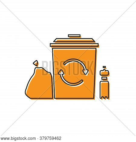 Orange Recycle Bin With Recycle Symbol Icon Isolated On White Background. Trash Can Icon. Garbage Bi