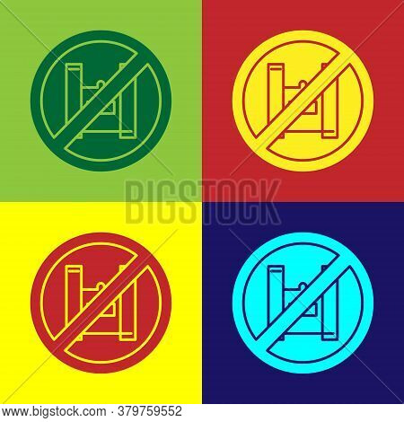 Pop Art Say No To Plastic Bags Poster Icon Isolated On Color Background. Disposable Cellophane And P