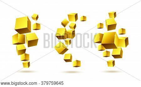 A Set Of Vector Abstract Illustrations Consisting Of Gold 3d Rendering Cubes.