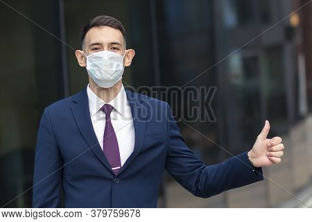 Handsome Happy Businessman In Medical Mask On His Face, Young Man, Guy In Formal Suit Jacket Shirt,