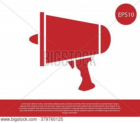 Red Spread The Word, Megaphone Icon Isolated On White Background. Vector Illustration