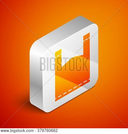 Isometric Plastic Bag Icon Isolated On Orange Background. Disposable Cellophane And Polythene Packag