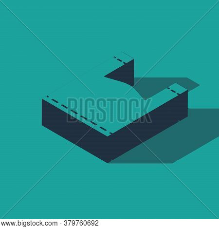 Isometric Plastic Bag Icon Isolated On Green Background. Disposable Cellophane And Polythene Package