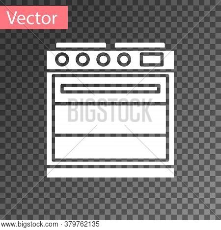 White Oven Icon Isolated On Transparent Background. Stove Gas Oven Sign. Vector Illustration
