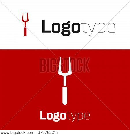Red Barbecue Fork Icon Isolated On White Background. Bbq Fork Sign. Barbecue And Grill Tool. Logo De