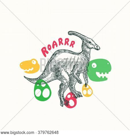 Prehistoric Dinosaur Abstract Sign, Symbol Or Card Template. Hand Drawn Parasaurolophus Reptile With
