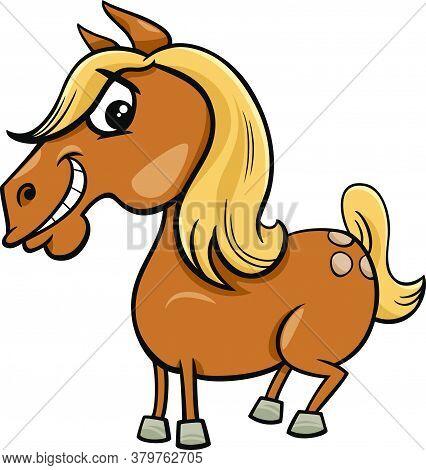 Cartoon Illustration Of Funny Horse Or Pony Farm Animal Character