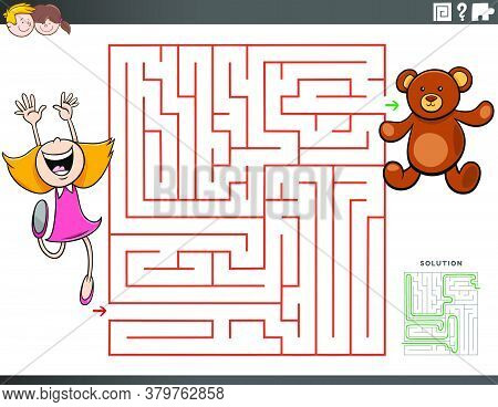Cartoon Illustration Of Educational Maze Puzzle Game For Children With Girl Character And Teddy Bear