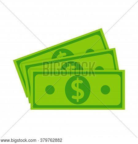 Fan Banknote Money. Pile Of Dollars Cash, Green Banknotes, Green Paper Bills. Banknote Piles For Pay