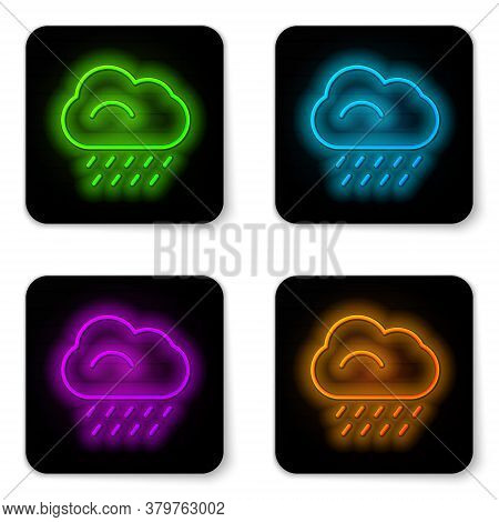 Glowing Neon Line Cloud With Rain Icon Isolated On White Background. Rain Cloud Precipitation With R