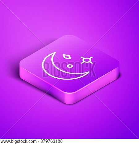 Isometric Line Moon And Stars Icon Isolated On Purple Background. Cloudy Night Sign. Sleep Dreams Sy