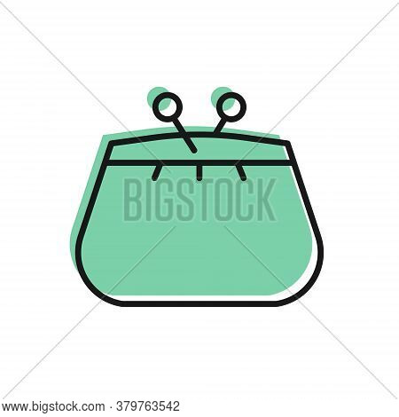 Black Line Wallet Icon Isolated On White Background. Purse Icon. Cash Savings Symbol. Vector Illustr