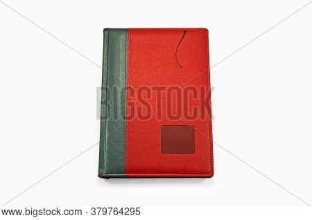 Red Personal Business Organizer On White Background. Isolated View From Above
