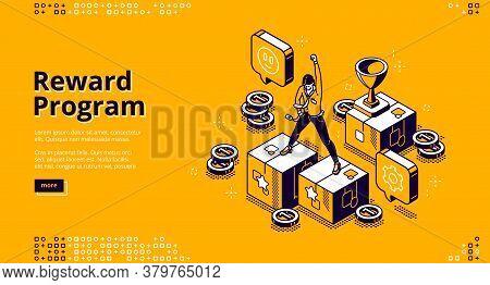 Reward Program Isometric Landing Page, Loyalty Cashback To Customer, Money Back Incentive Commerce.