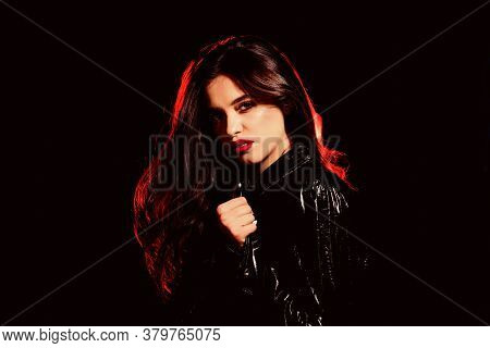 Stylish Every Moment. Stylish Woman Wear Red Lips Makeup. Sexy Fashion Model With Stylish Look. Sens