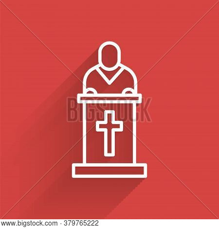 White Line Church Pastor Preaching Icon Isolated With Long Shadow. Vector Illustration