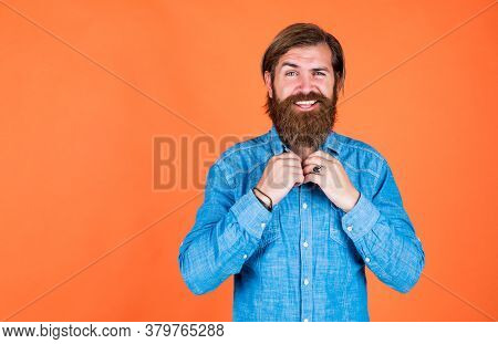 Male Beauty Standard. Looking So Trendy. Confident And Handsome Brutal Man. Bearded Man. Young And B