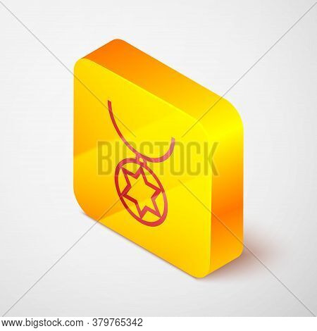Isometric Line Star Of David Necklace On Chain Icon Isolated On Grey Background. Jewish Religion. Sy