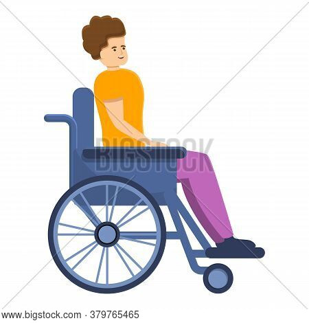 Handicapped Man In Wheelchair Icon. Cartoon Of Handicapped Man In Wheelchair Vector Icon For Web Des