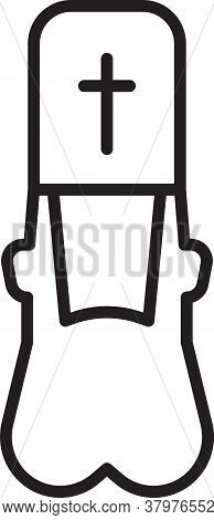 Black Line Priest Icon Isolated On White Background. Vector Illustration