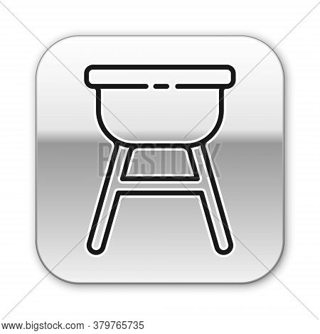 Black Line Barbecue Grill Icon Isolated On White Background. Bbq Grill Party. Silver Square Button.
