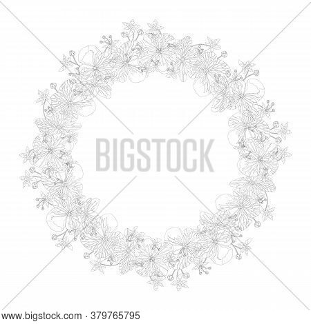 Floral Round Wreath With Black And White Silhouettes Of Hydrangea Flowers With Bud On White Backgrou