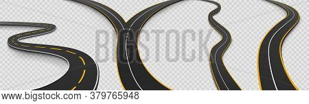 Road, Winding And Fork Highway Isolated On Transparent Background. Journey Two Lane Curve Asphalt Pa