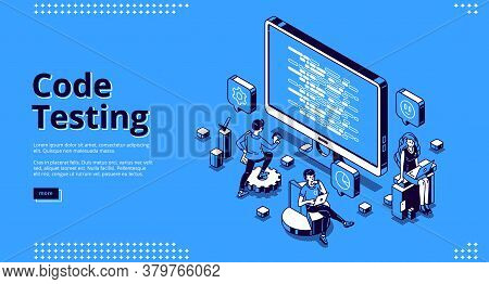 Code Testing Banner. Concept Of Search Errors And Bugs In Software, Quality Control Of Website Or Ap