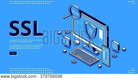Secure Certificate Of Website Banner. Concept Of Ssl, Safety Internet Technology, Data Encryption Pr