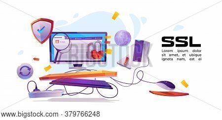 Ssl, Secure Certificate Of Website Banner. Concept Of Safety Internet Technology, Data Encryption Pr