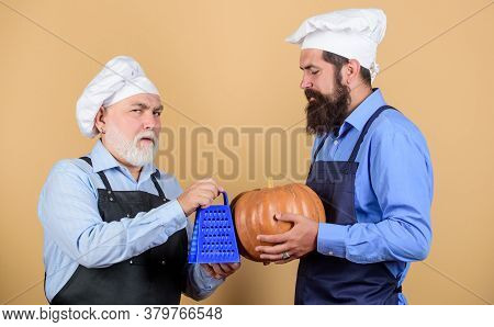 Eat Concept. Culinary Dynasty. Teaching Culinary. Culinary Book. Mature Bearded Men Professional Res