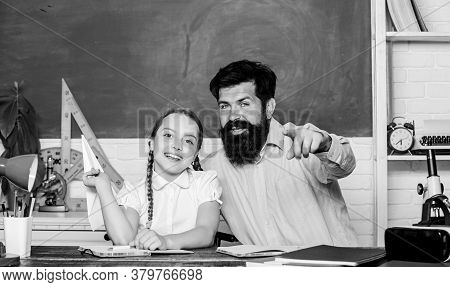 Developing Caring Learners Who Are Actively Growing And Achieving. Man Bearded Pedagogue And Pupil H