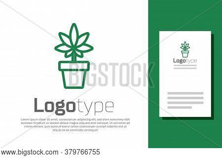 Green Line Medical Marijuana Or Cannabis Plant In Pot Icon Isolated On White Background. Marijuana G