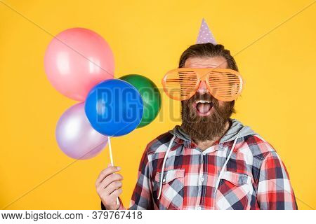 Nice Color. Man In Party Glasses Hold Balloons. Holiday Celebration. Happy Birthday To You. Corporat