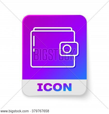 White Line Wallet Icon Isolated On White Background. Purse Icon. Cash Savings Symbol. Rectangle Colo