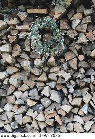 Stacked Logs Texture. Cross Section Of The Timber, Firewood Stack Of Sawn Logs. Natural Wooden Decor