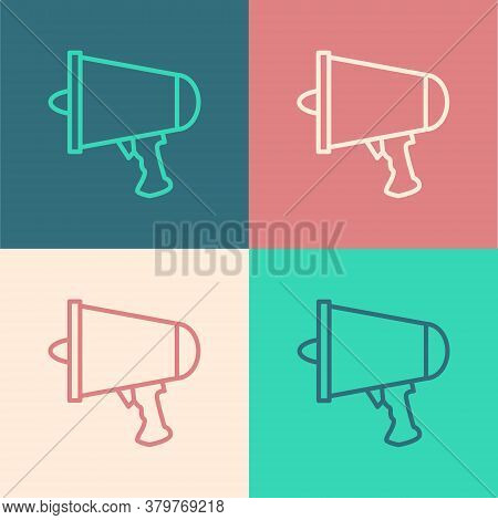 Pop Art Line Spread The Word, Megaphone Icon Isolated On Color Background. Vector Illustration