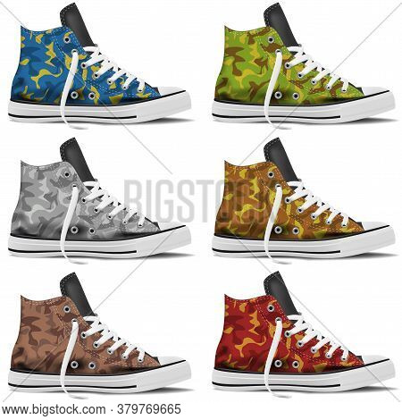 Design Collection Of Realistic Sneakers Mock Up On White Background. Youth Sneakers For Your Busines