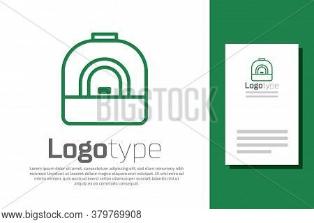 Green Line Oven Icon Isolated On White Background. Stove Gas Oven Sign. Logo Design Template Element