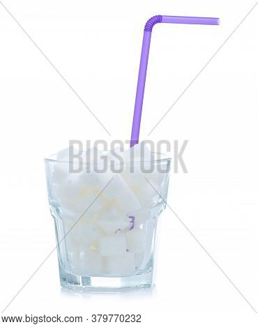 Glass With White Sugar Cubes On White Background Isolation