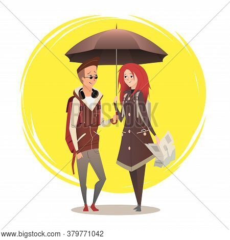 Couple Under Umbrella. Couple Flat Design On Sunny Background. Young Couple In Love For Your Busines