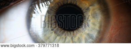 Closeup Healthy Green Human Pupil Eye Diagnosis. Health Prevention. Genetics And Color Scheme Eye. E