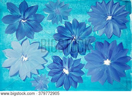Abstract Indigo Color Flowers On Turquoise Background