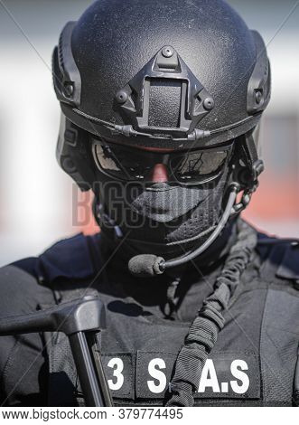 Bucharest, Romania - July 29, 2020: Officer From The Special Actions And Intervention Service (sias)