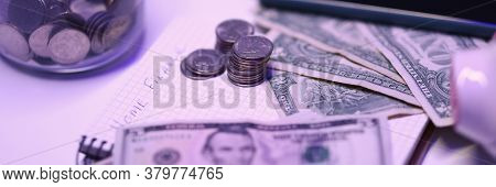 On Table Is Notebook With Home Finances And Money. Cash Flow Analysis. Maintain A Joint Budget And A