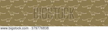 Seamless Background Cute Apatosaurus Dinosaur Gender Neutral Baby Border Pattern. Simple Whimsical M