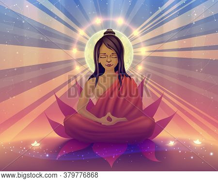 Buddhist Sits In Deep Meditation And Concentration In A State Of Samadhi, Yogi, Ascetic Doing Retrea