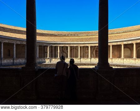 Granada, Andalusia / Spain - March 27 2015: Beautiful Infamous Alhambra Moorish Sprawling Hilltop Ro