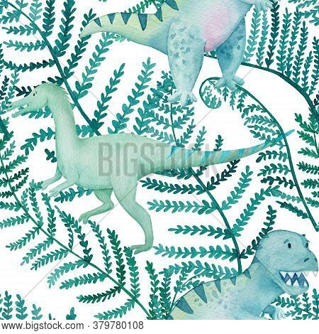 Dinosaurs And Fern Leaves Seamless Pattern. Watercolor Tropical Foliage Endless Background. Watercol